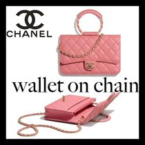 CHANEL Casual Style Lambskin Street Style 2WAY Chain Plain Leather