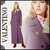 VALENTINO Casual Style Wool Cashmere Plain Long Office Style