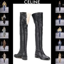 CELINE Blended Fabrics Plain Leather Block Heels Elegant Style