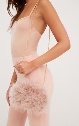 Lipsy Faux Fur 2WAY Chain Plain Party Style Party Bags