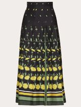 VALENTINO Flower Patterns Casual Style Silk Pleated Skirts Long