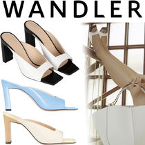 WANDLER Open Toe Square Toe Plain Leather Heeled Sandals