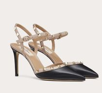 VALENTINO Casual Style Blended Fabrics Studded Leather Pin Heels