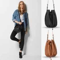 STATUS ANXIETY Casual Style Plain Leather Purses Bucket Bags