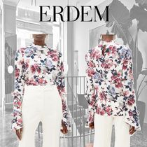 ERDEM Flower Patterns Casual Style Silk Long Sleeves Party Style