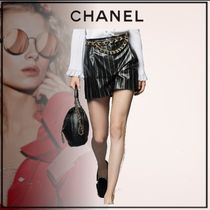 CHANEL Printed Pants Short Stripes Casual Style Leather