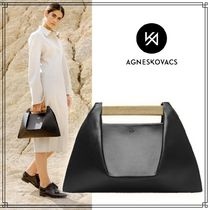 AGNESKOVACS Casual Style Blended Fabrics 2WAY Plain Leather Party Style