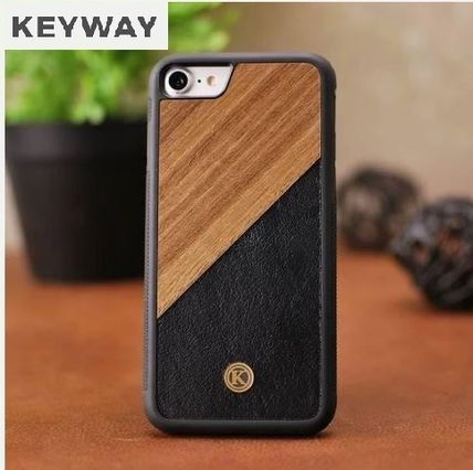 Unisex Bi-color Plain Leather Handmade Made of Wood iPhone 8