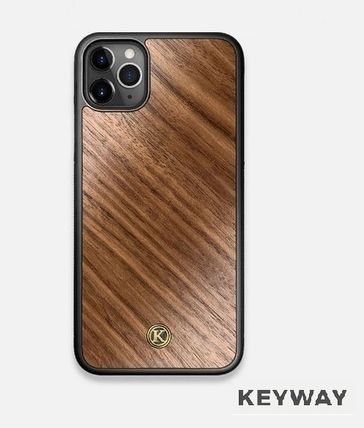 Unisex Plain Leather Made of Wood iPhone X iPhone XS
