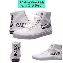 Calvin Klein Round Toe Lace-up Casual Style Unisex Plain Low-Top Sneakers