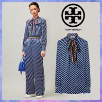 Tory Burch Stripes Casual Style Silk Blended Fabrics Street Style