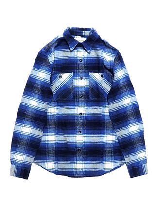 Button-down Other Check Patterns Long Sleeves Cotton Shirts