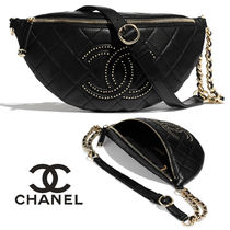 CHANEL Casual Style Lambskin Studded Chain Plain Shoulder Bags