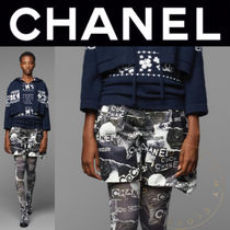 CHANEL Short Flower Patterns Casual Style Silk Street Style Cotton
