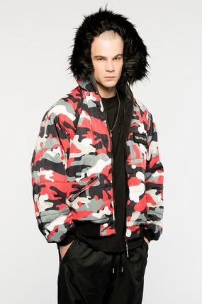Camouflage Unisex Faux Fur Street Style Military Jackets