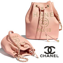 CHANEL Casual Style Calfskin Studded Chain Plain Purses Bucket Bags