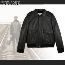 CELINE Short Plain Leather Shearling Biker Jackets