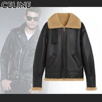 CELINE Bi-color Plain Leather Shearling Biker Jackets