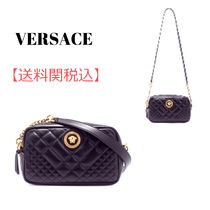 VERSACE Casual Style Leather Elegant Style Shoulder Bags