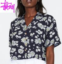 STUSSY Flower Patterns Casual Style Short Sleeves Shirts & Blouses