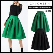 Chicwish Casual Style Pleated Skirts Plain Medium Office Style