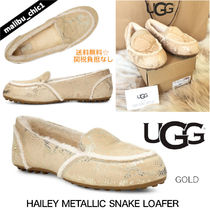 UGG Australia HAILEY FLUFF LOAFER Plain Toe Moccasin Rubber Sole Casual Style Sheepskin Suede