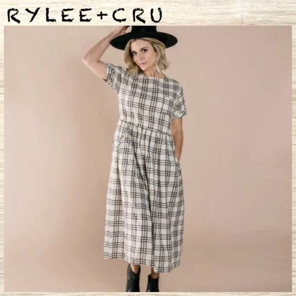 Crew Neck Other Check Patterns Casual Style Linen