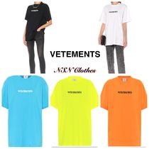 VETEMENTS Crew Neck Plain Cotton Short Sleeves Oversized T-Shirts