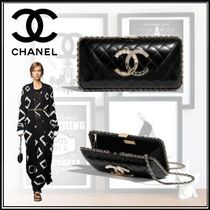 CHANEL Lambskin Chain Party Style Elegant Style Party Bags