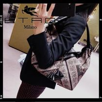 ETRO Flower Patterns Paisley Casual Style Tassel Shoulder Bags