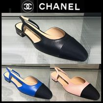 CHANEL ICON Blended Fabrics Plain Block Heels Party Style