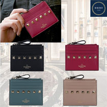 VALENTINO Calfskin Studded Plain Logo Card Holders