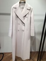 S Max Mara Stand Collar Coats Wool Plain Long Party Style Office Style