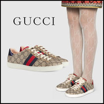 GUCCI Ace Monogram Rubber Sole Casual Style Unisex Street Style Logo
