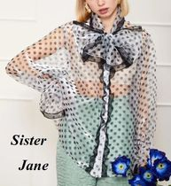 Sister Jane Dots Casual Style Long Sleeves Party Style Lace