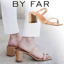 by FAR Open Toe Square Toe Plain Leather Chunky Heels