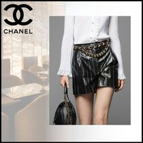 CHANEL Short Stripes Casual Style Leather Party Style Elegant Style
