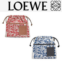 LOEWE Flower Patterns Casual Style Calfskin Canvas Blended Fabrics