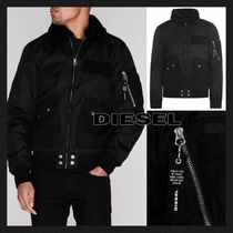 DIESEL Short Unisex Plain Jackets