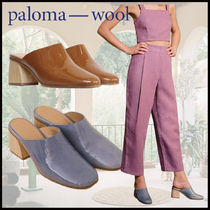 Paloma Wool Round Toe Casual Style Plain Leather Block Heels
