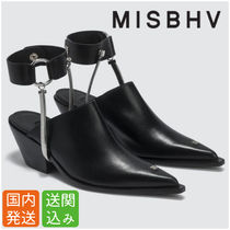 MISBHV Casual Style Street Style Plain Leather Block Heels Sandals