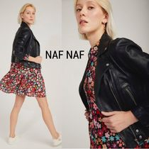 NAF NAF Short Plain Leather Biker Jackets