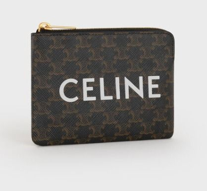 CELINE Triomphe Canvas Logo Coin Cases
