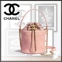 CHANEL Casual Style Calfskin Blended Fabrics 2WAY Chain Purses