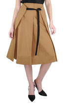 S Max Mara Plain Cotton Medium Elegant Style Midi Skirts