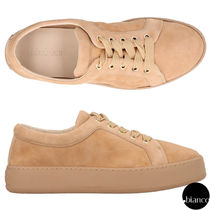 MaxMara Platform Round Toe Rubber Sole Lace-up Casual Style Suede