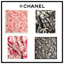 CHANEL Flower Patterns Casual Style Cashmere Silk Blended Fabrics