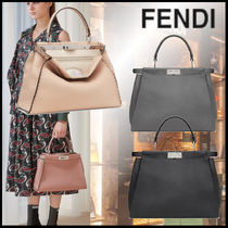 FENDI PEEKABOO Casual Style Calfskin 2WAY Plain Leather Office Style