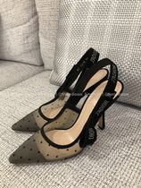 Christian Dior Dots Suede Pin Heels Pointed Toe Pumps & Mules