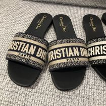 Christian Dior Open Toe Leather Mules Logo Sandals Sandal